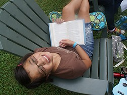 Camper Enjoying Chill Time with a Good Book