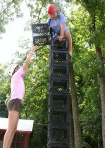 Campers using Balance and Coordination to Crate Stack