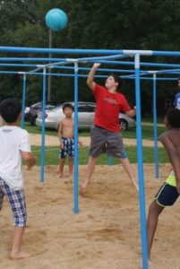 9 Square in the Air is an exciting fast-paced game, which tests campers' quickness and reactions at Camp Kupugani