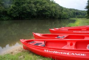 Campers can enjoy canoeing on the lake or Leaf River