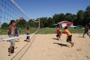 Midwest camp fun with sand volleyball
