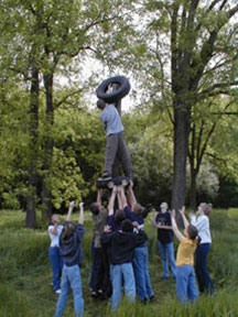 Team building during a Corporate Retreat at Camp White Eagle