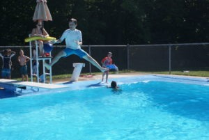Campers having fun in the pool at our midwest summer camp