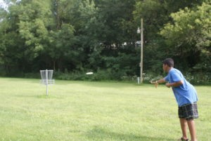 Disc golf is always a relaxing way to have fun at camp