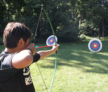 High-quality traditional recurve bows are available for campers to test their skills at our different ranges. From the 5-yard range up to the 30-yard range, campers learn safety rules and regulations, parts of the bow and arrow, correct stance, breathing, aiming, holding, drawing and releasing. Campers can have friendly competitions, create and use smaller targets, and receive detailed instruction from experienced staff.
