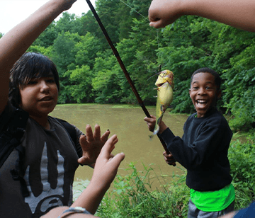 Bring your own fishing pole or use one of our bamboo fishing poles to take advantage of the great fishing that you can find down by our fishing pond, river, or lake.