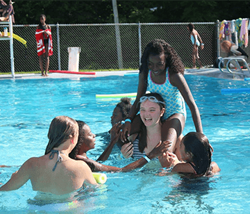 Swimming is always a fun activity on a warm summer day. Our beautiful 30- by 60-foot fully-staffed swimming pool, located in the heart of camp, is the venue for swimming supervision from our certified lifeguards, fun pool games, and diving from our one-meter board.