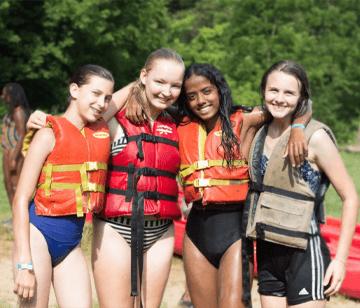 Girls a Camp Kupugani after a paddle on the lake.
